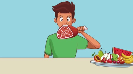 foodstuff : Young man eating healthy food High definition colorful scenes animation