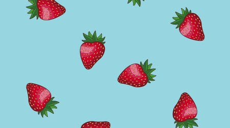gıda maddesi : Strawberries falling over blue background High definition colorful scenes animation Stok Video