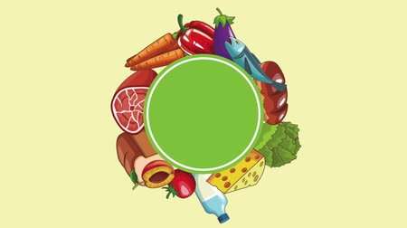 bakłażan : Healthy food round blank frame High definition colorful scenes animation Wideo