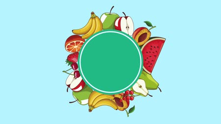 apple icon : Natural fruits blank round frame High definition colorful scenes animation Stock Footage