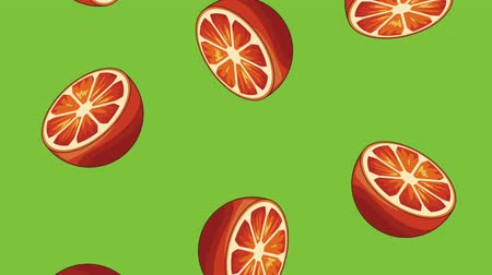 gıda maddesi : Oranges falling over green background High definition colorful scenes animation Stok Video
