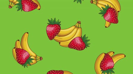 gıda maddesi : Strawberries and bananas falling over green background High definition colorful scenes animation Stok Video