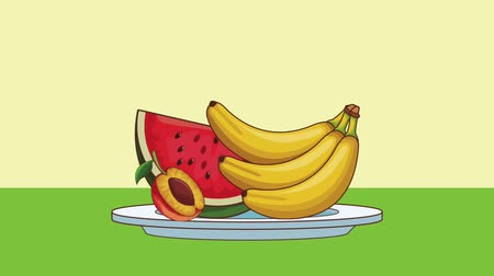 foodstuff : Delicious and natural fruits on dish High definition colorful scenes animation