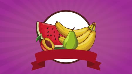duraznos : Delicious and natural fruits on round icon with blank ribbon banner high definition animation colorful scenes