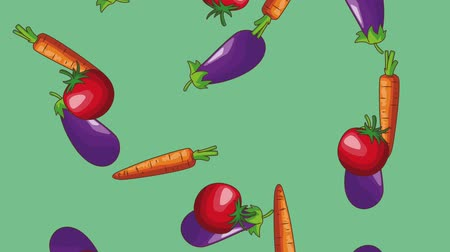 калория : Eggplant tomatos and carrot falling over blue background high definition animation colorful scenes
