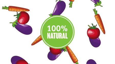 foodstuff : Natural vegetables food over Eggplant tomatos and carrot falling background high definition animation colorful scenes Stock Footage