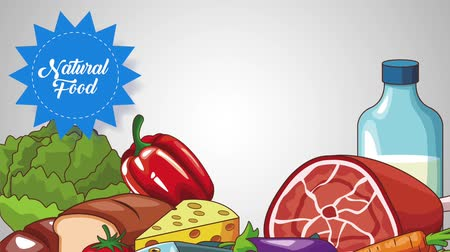 gıda maddesi : Natural and healthy food with natural stamps cartoon high definition animation colorful scenes