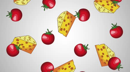 foodstuff : Cheese and tomatos falling over blue background high definition animation colorful scenes