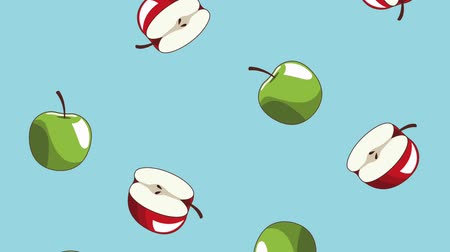 gıda maddesi : Green and red apples falling over blue background high definition animation colorful scenes