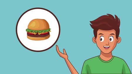 kobliha : Young man and fast food in round icon high definition animation colorful scenes