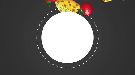aliment : Italian pizza food in round icon over tomatos and cheese falling background high definition animation colorful scenes