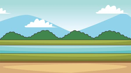 dessin paysage : Beautiful landscape scenery at sunny day high definition animation colorful scenes