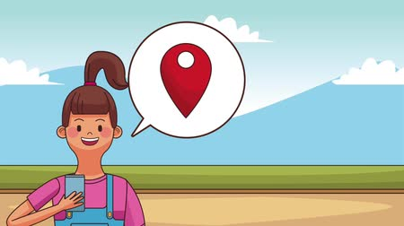 navigator : Young woman using smartphone with GPS high definition animation colorful scenes