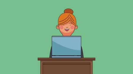 assentado : Businesswoman seated and working with laptop on desk High definition colorful animation scenes