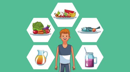 juice jar : Fitness man and healthy foods icons high definition colorful animation scenes