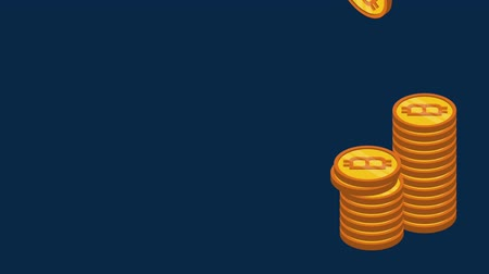 электронная коммерция : Bitcoins piled up over blue background high definition colorful animation scenes