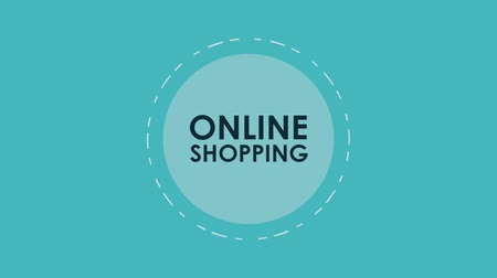 steigerung : Online shopping round symbol with store and giftbox high definition colorful animation scenes