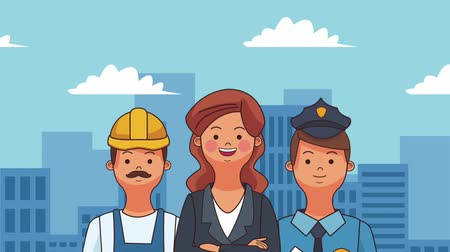 мультфильмы : Businesswoman worker and police officer at city cartoons high definition animation colorful scenes