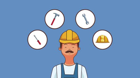 csavarkulcs : Construction worker and tools round icons high definition animation colorful scenes