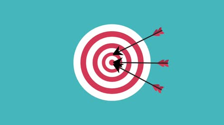 accurate : Arrows on target dartboard over blue background high definition animation colorful scenes