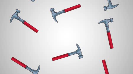 maintenancetools : Construction hammer tools falling background high definition animation colorful scenes