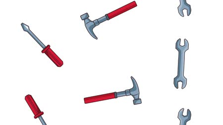 maintenancetools : Hammer and wrenchs tools falling background high definition animation colorful scenes Stock Footage