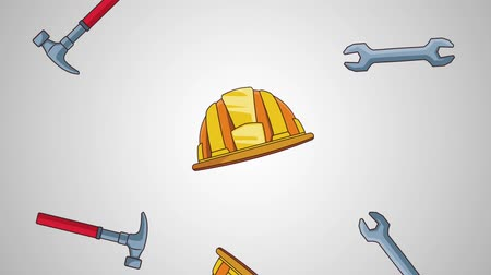 maintenancetools : Hammer wrench and helmet falling over gray background high definition animation colorful scenes