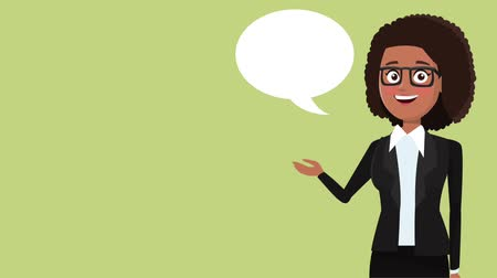 dama : Executive businesswoman talking with blank bubble speech high definition animation colorful scenes