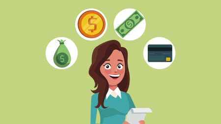 kütük : Businesswoman with money round icons high definition animation colorful scenes