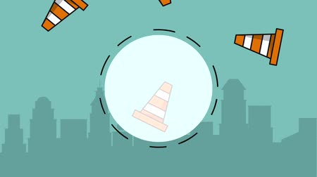 maintenancetools : Blank round frame over construction cones and cityscape high definition animation colorful scenes