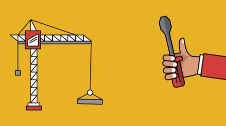 maintenancetools : Crane and hand with screwdriver over yellow background high definition animation colorful scenes