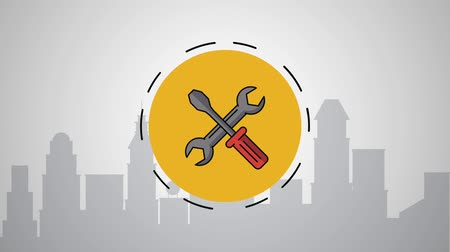 encanador : screwdriver and wrench on round frame over cityscape high definition animation colorful scenes