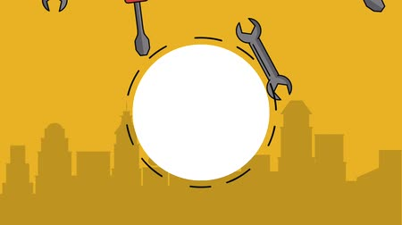maintenancetools : Blank round frame over screwdriver and wrenchs falling high definition animation colorful scenes