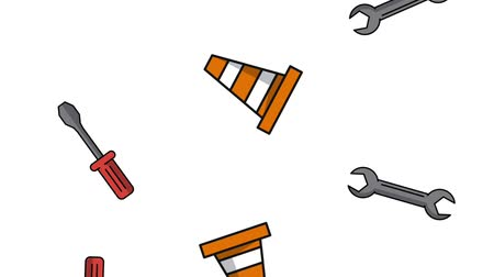 maintenancetools : Construction cone and wrenchs tools background high definition animation colorful scenes