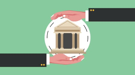intézmény : Hands on bank building round symbol high definition animation colorful scenes