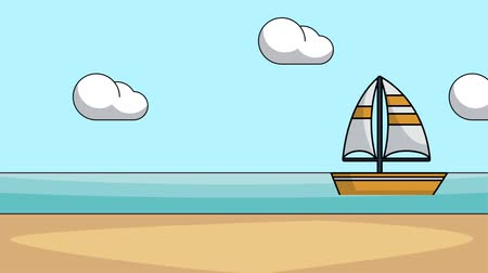 экипаж : Sailboat passing by beach cartoons high definition colorful animation scenes