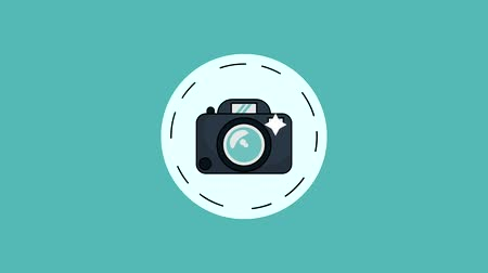 cinematography : Camcorder and photographic camera round symbol high definition colorful animation scenes