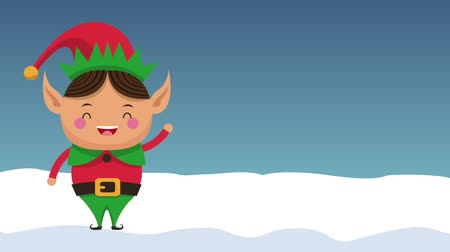 elves : Christmas elf on winter cartoon high definition colorful animation scenes