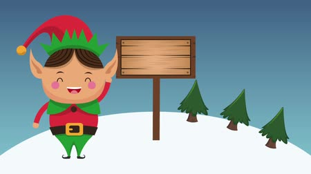 elves : Christmas elf with blank wooden sign cartoon high definition colorful animation scenes