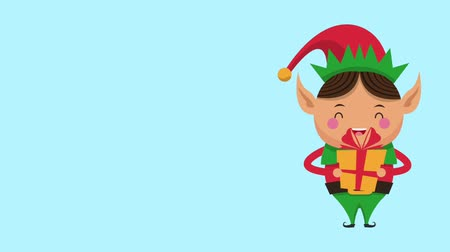 elfo : Christmas elf holding giftbox cartoon high definition colorful animation scenes Stock Footage