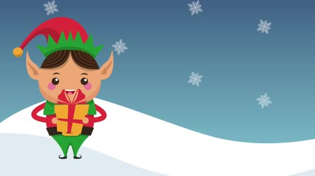 duende : Christmas elf holding giftbox cartoon high definition colorful animation scenes Archivo de Video