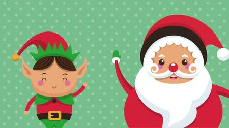 elfo : Santa claus and elf cartoon greeting over green background high definition colorful animation scenes Stock Footage