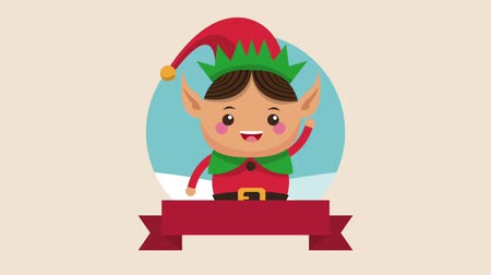 elf : Cute christmas elf cartoon inside round icon with blank ribbon banner high definition animation colorful scenes
