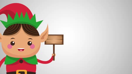 elves : Cute christmas elf holding blank woode sign cartoon high definition animation colorful scenes Stock Footage
