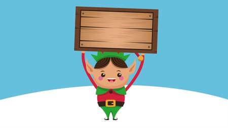 elf : Cute christmas elf holding blank wooden sign cartoon high definition animation colorful scenes Stock Footage