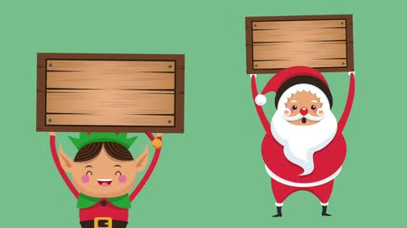 elf : Santa and elf holding blank wooden sign christmas cartoons high definition animation colorful scenes