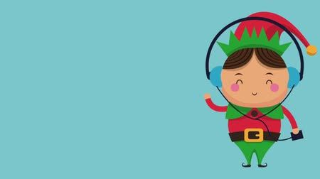 elfo : Cute christmas elf listen music from device over blue background high definition animation colorful scenes