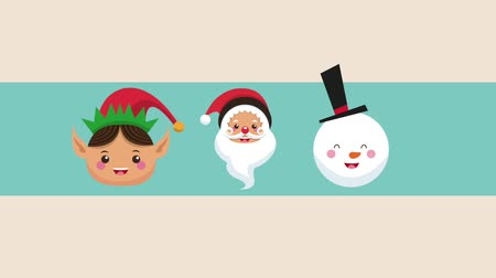 elf : Santa claus elf and snowman christmas cartoon faces high definition animation colorful scenes