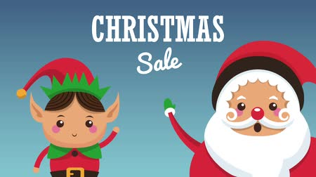elfo : Christmas sale with elf and santa claus concept high definition animation colorful scenes