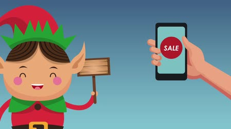 elves : Christmas online sale and elf holding blank wooden sign concept high definition animation colorful scenes Stock Footage